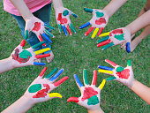 Painted hands, colorful fun. Creative,