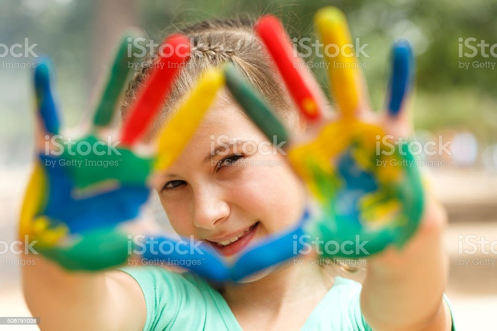 Painted hands stock photo