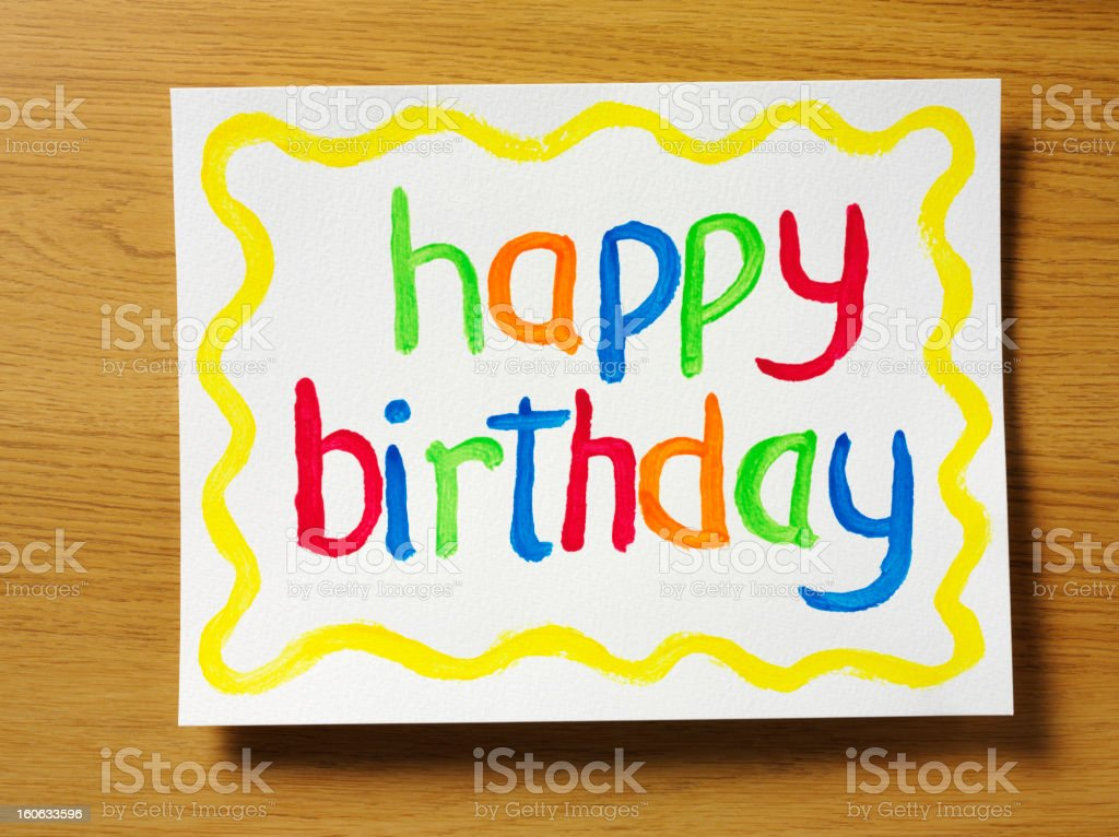 Painted Happy Birthday Gift royalty-free stock photo