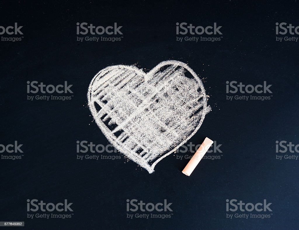 Painted heart in chalk stock photo