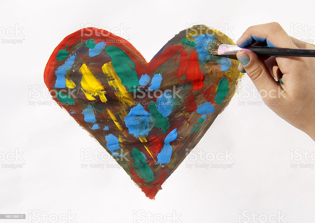 Painted heart royalty-free stock photo