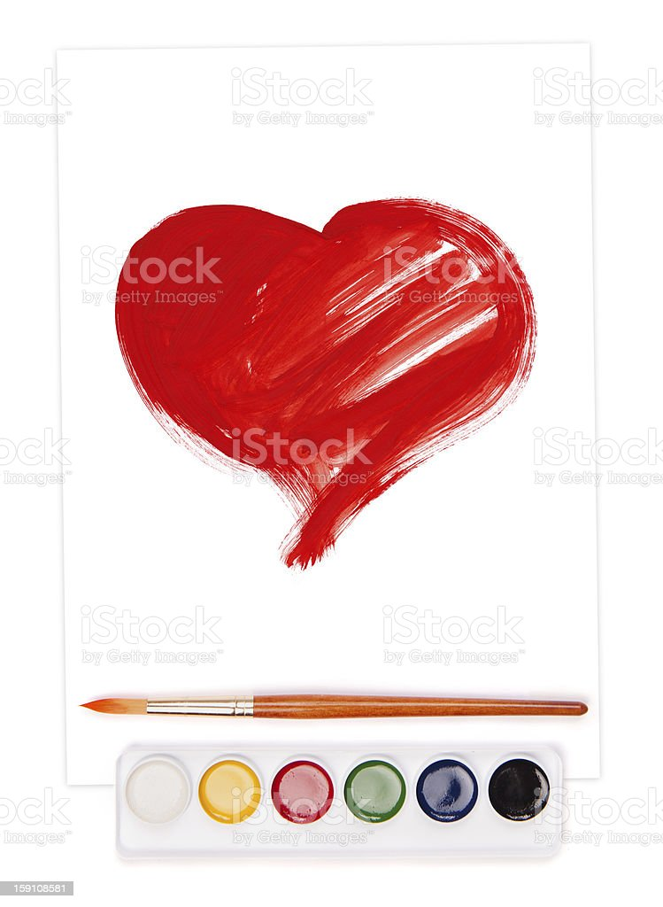 painted heart, watercolor set and brush royalty-free stock photo