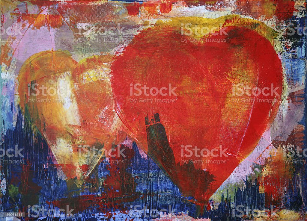 Painted hearts stock photo
