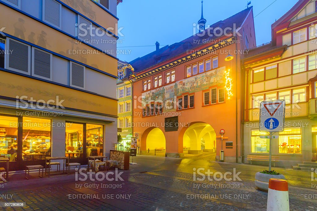 Painted houses in Appenzell stock photo