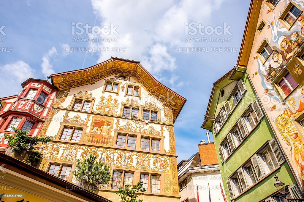 Painted houses in Lucerne city stock photo