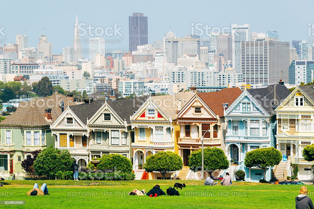 Painted Ladies, Alamo Square park in the city of San stock photo