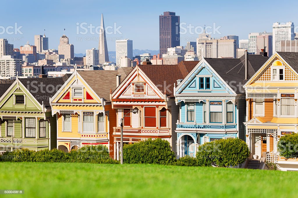 Painted ladies and San Francisco view stock photo