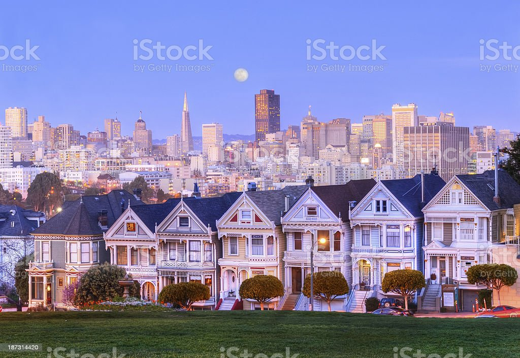 Painted Ladies at Full Moon night stock photo