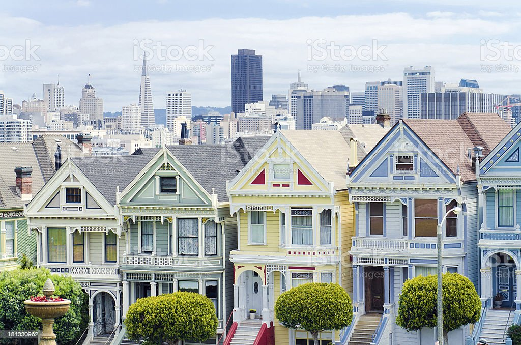 Painted Ladies houses next to Alamo Square in San Francisco royalty-free stock photo