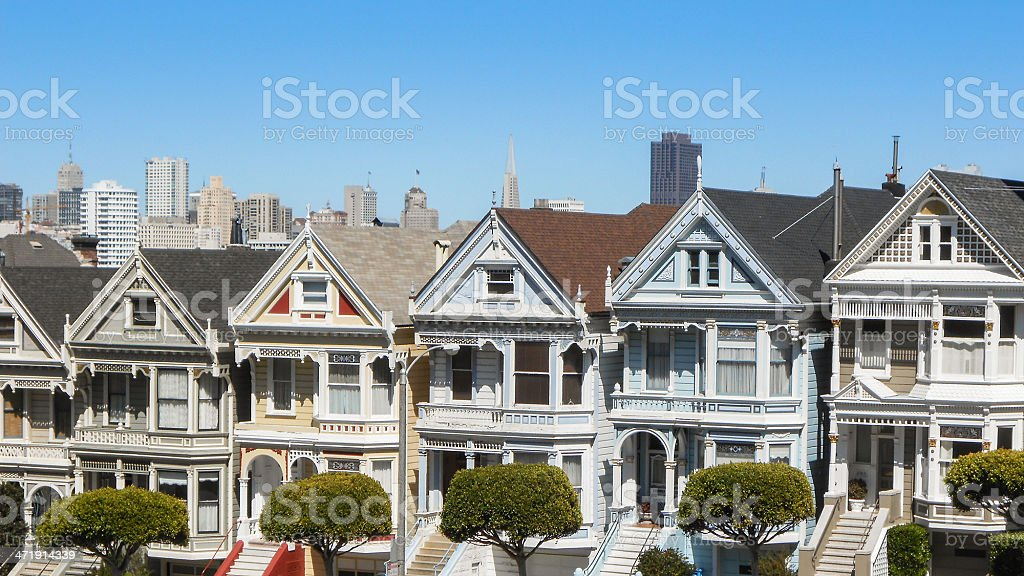 Painted ladies on Alamo Square - San Francisco royalty-free stock photo