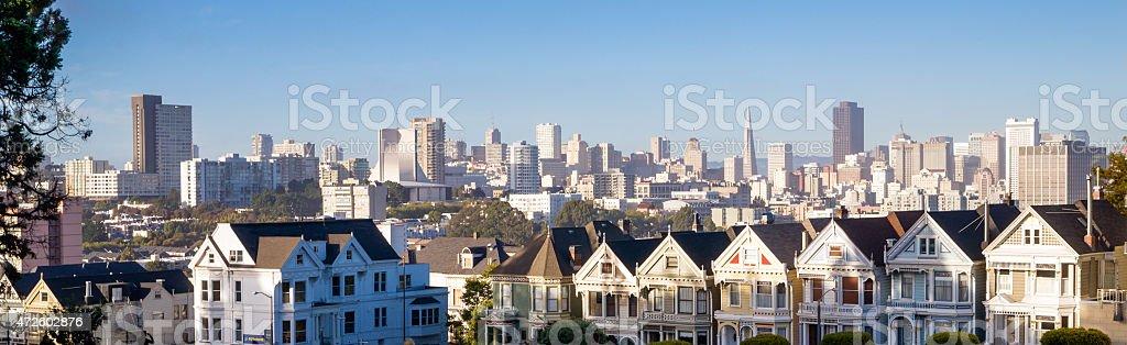 Painted Ladies Residential Homes Alamo Park San Francisco stock photo