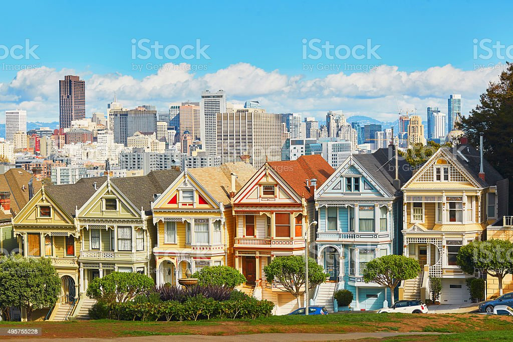 Painted Ladies, San Francisco, California, USA stock photo