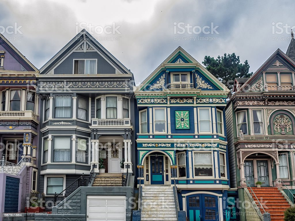 Painted Ladies victorian homes in San Francisco stock photo