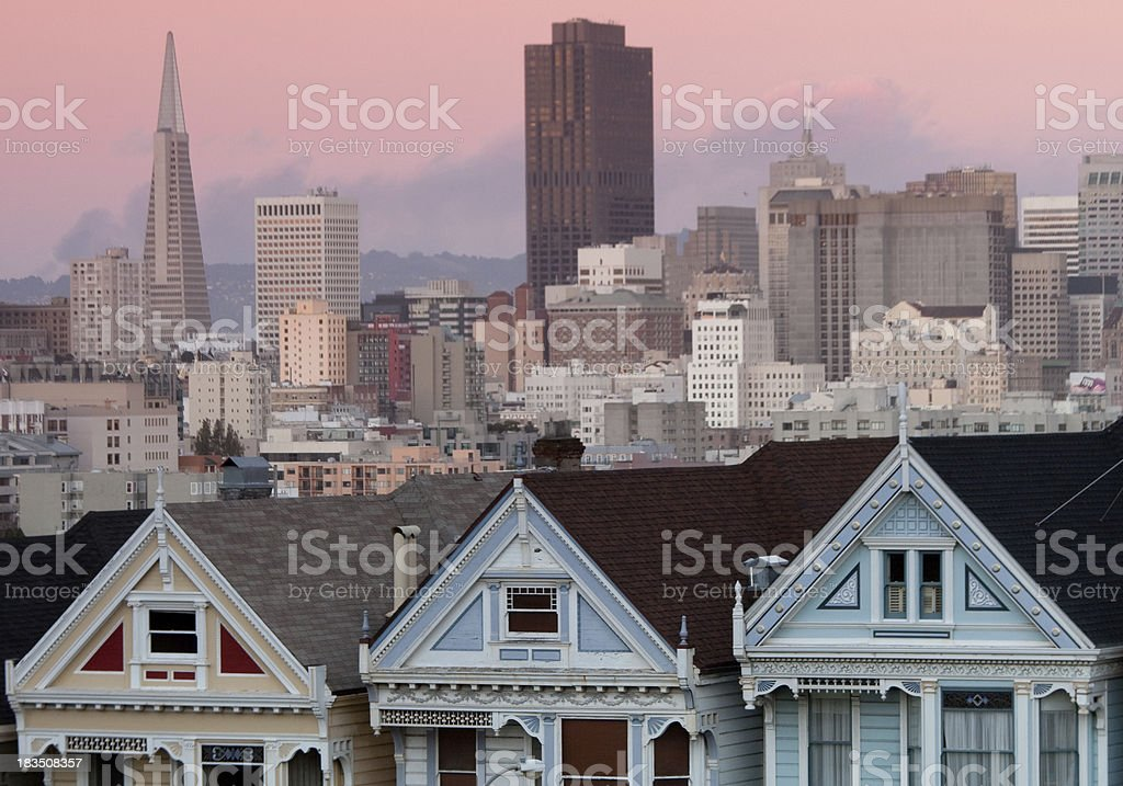 Painted Ladies Victorian Homes stock photo