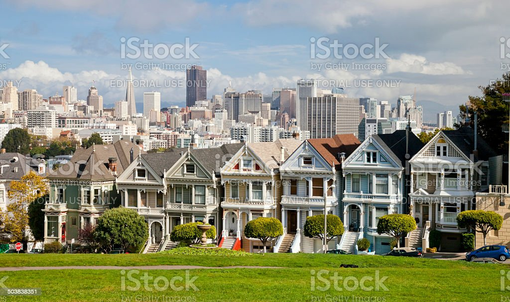 Painted Ladies Victorian houses, San Francisco, USA stock photo
