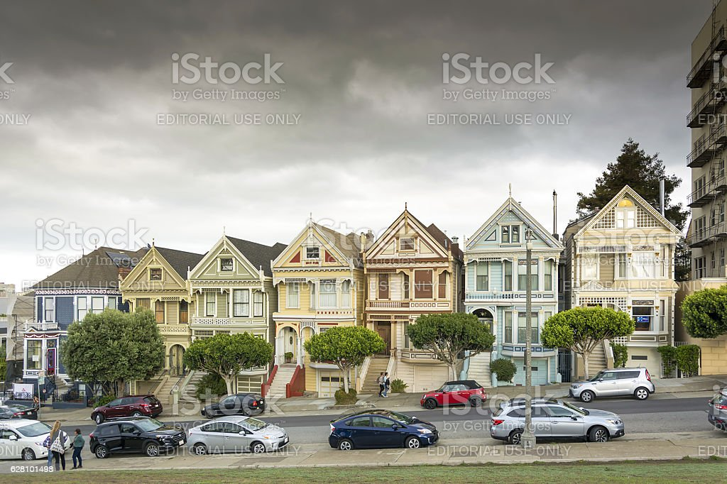 Painted Ladies with downtown in the background stock photo