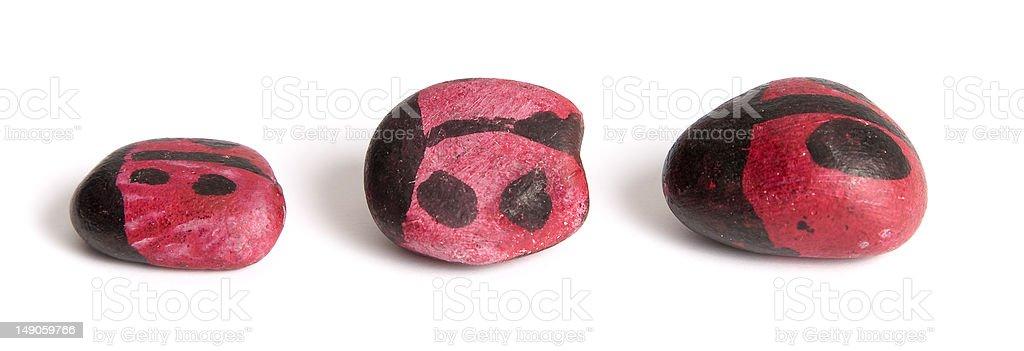 painted ladybird rocks royalty-free stock photo