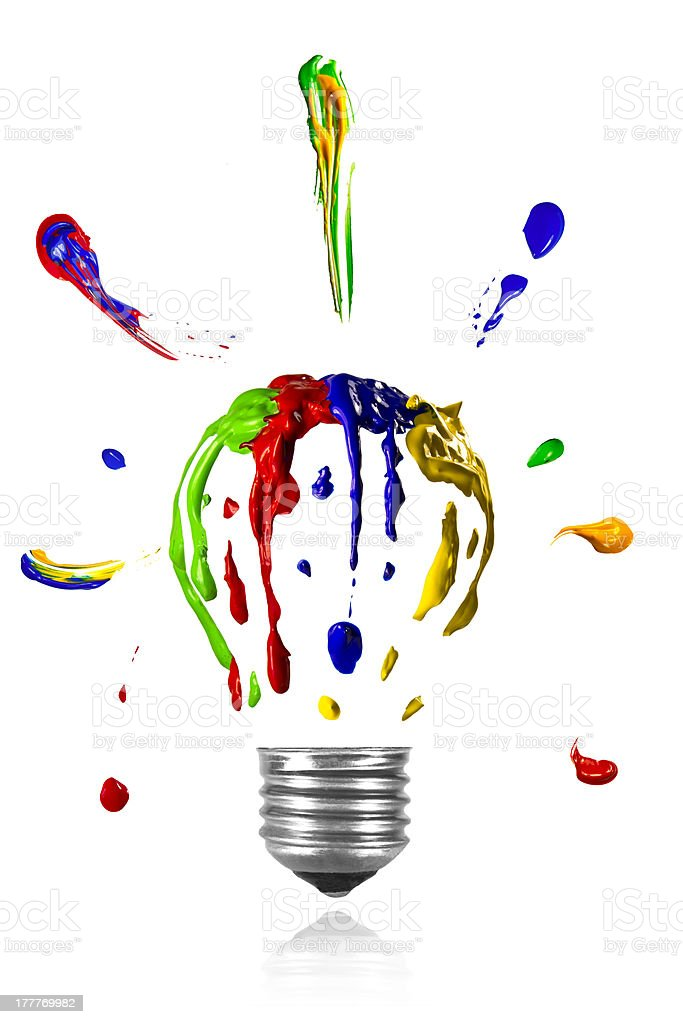 Painted light bulb with paint around royalty-free stock photo