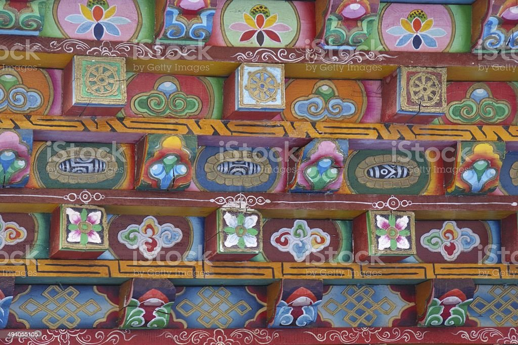 Painted lintel detail in Songzanlin Monastery, Shangri-La, China royalty-free stock photo
