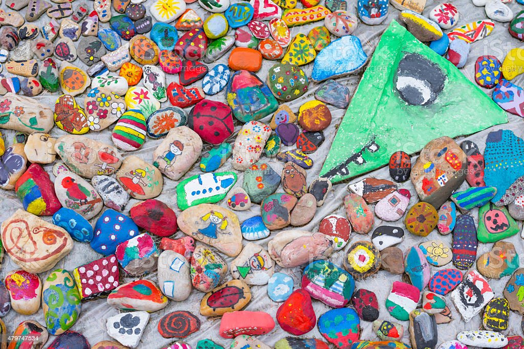 Painted pebbles stock photo