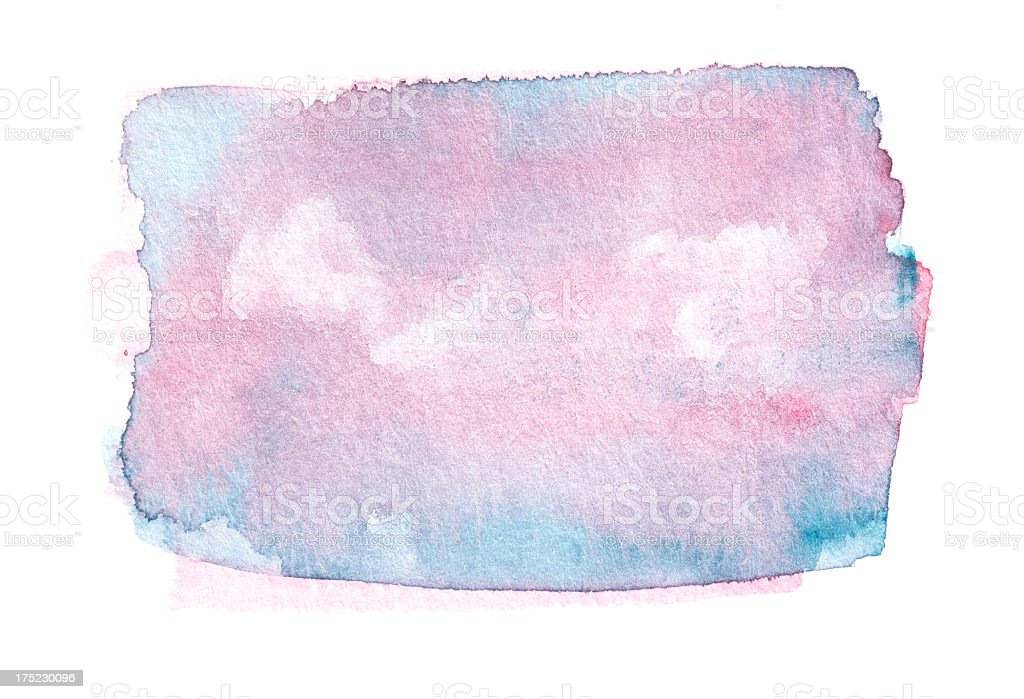 Painted pink / blue watercolor rectangular stock photo