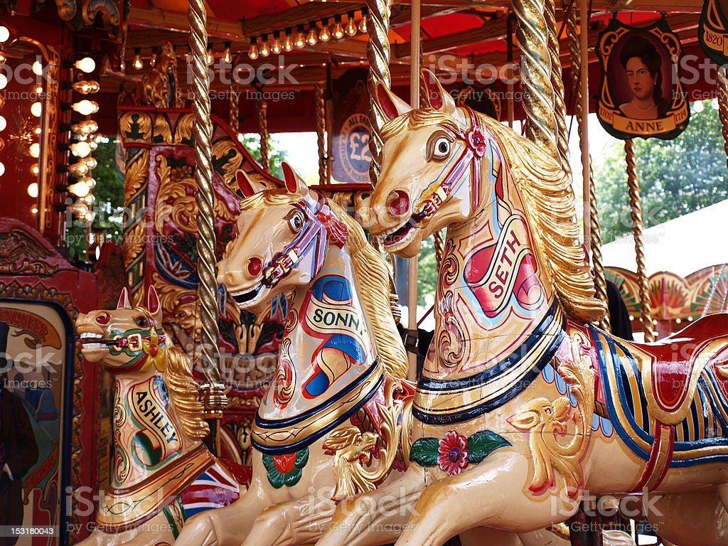 Painted Ponies on traditional carousel ride royalty-free stock photo