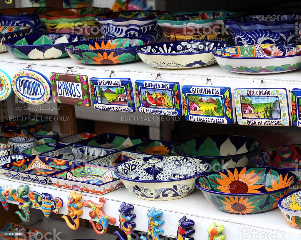 Painted Pottery at Mexican Market stock photo