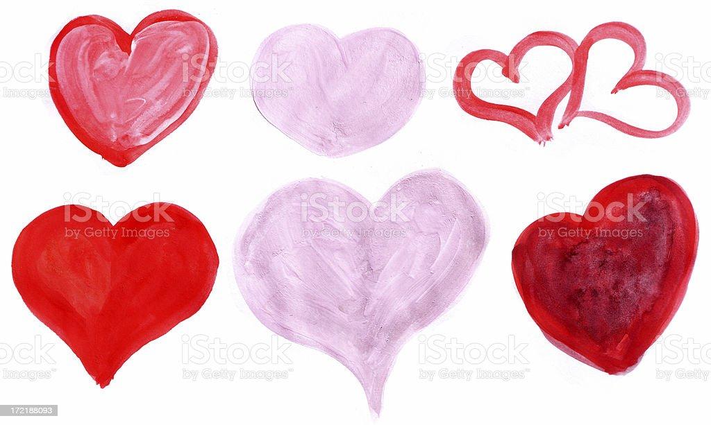Painted Random Hearts stock photo