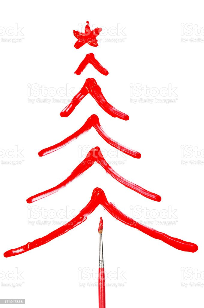 Painted red christmas tree stock photo