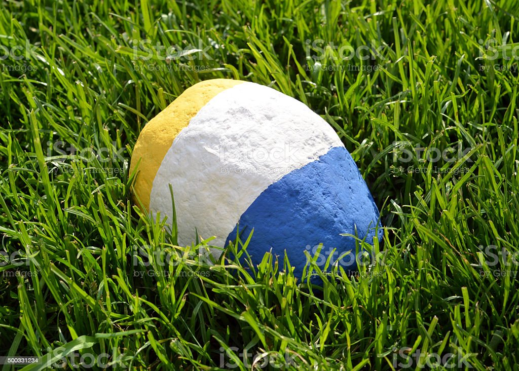 Painted Rock in the Grass stock photo