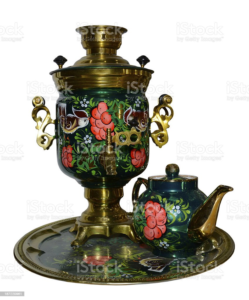 Painted samovar with a teapot royalty-free stock photo