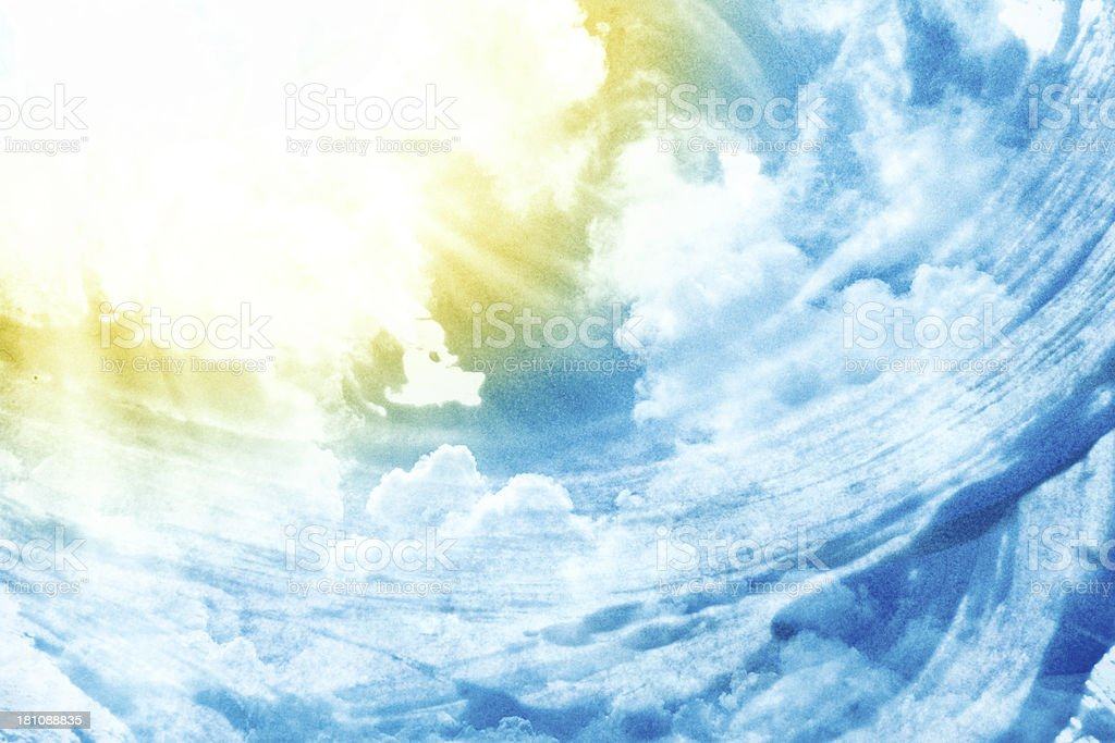 Painted Sky Background With Sun And Copy Space royalty-free stock photo