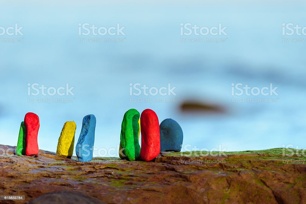 Painted some stones stock photo