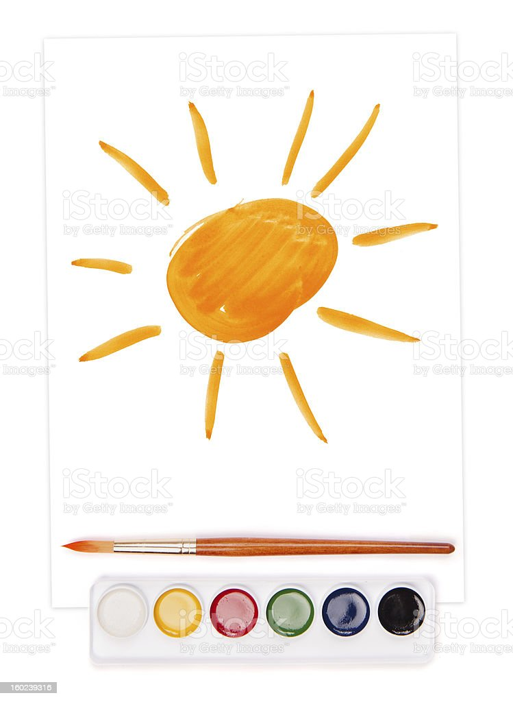 painted sun, watercolor set and brush royalty-free stock vector art