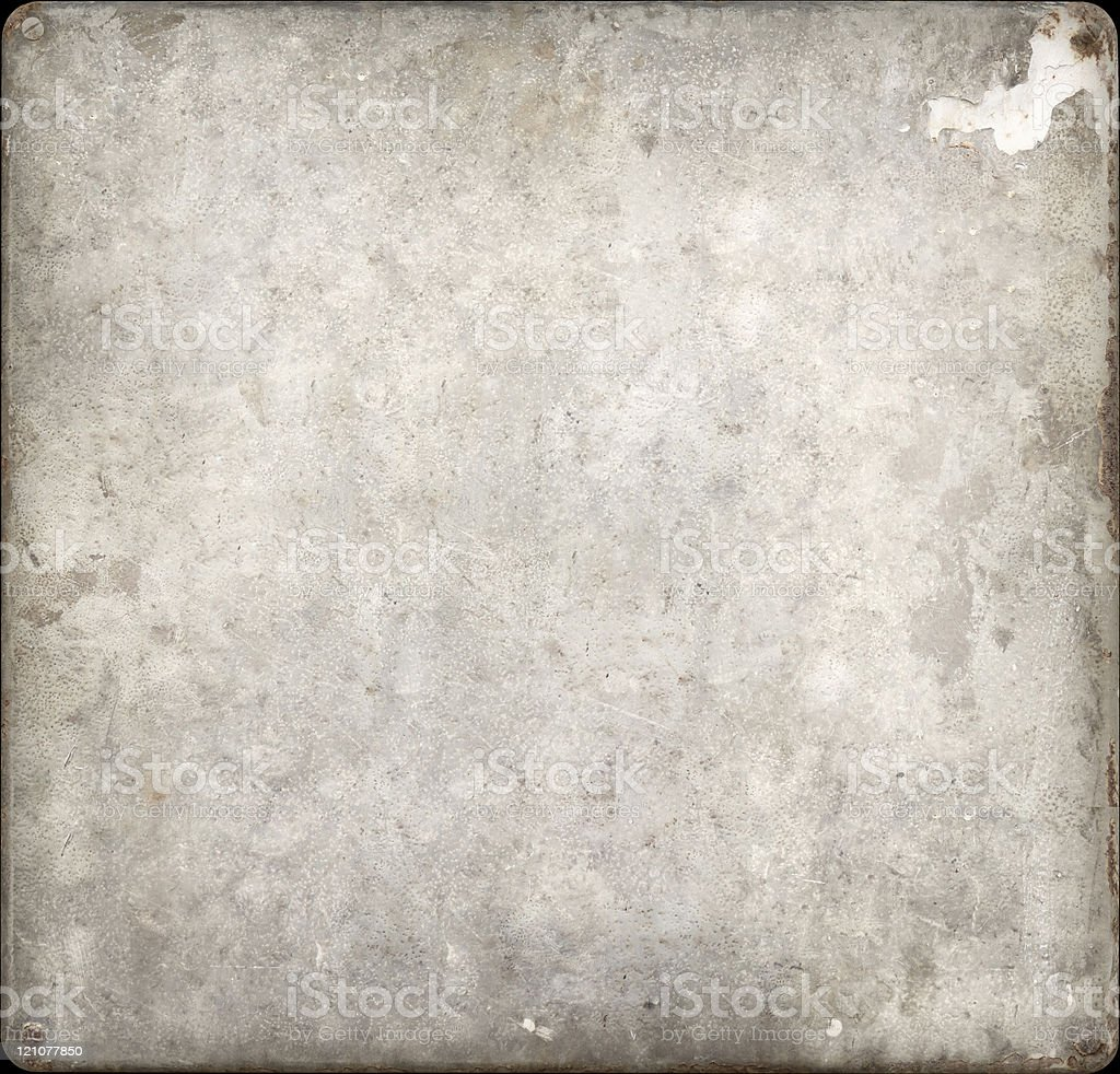 Painted surfaces flecks covering and rusty metal plate with screws stock photo