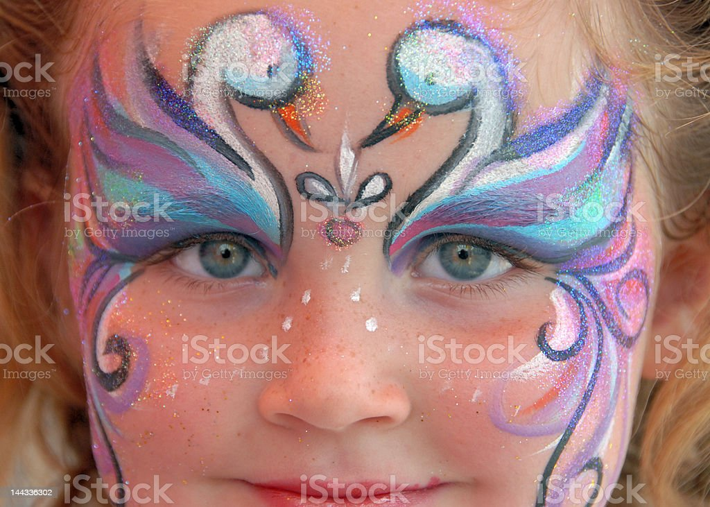 Painted Swan Face Girl royalty-free stock photo