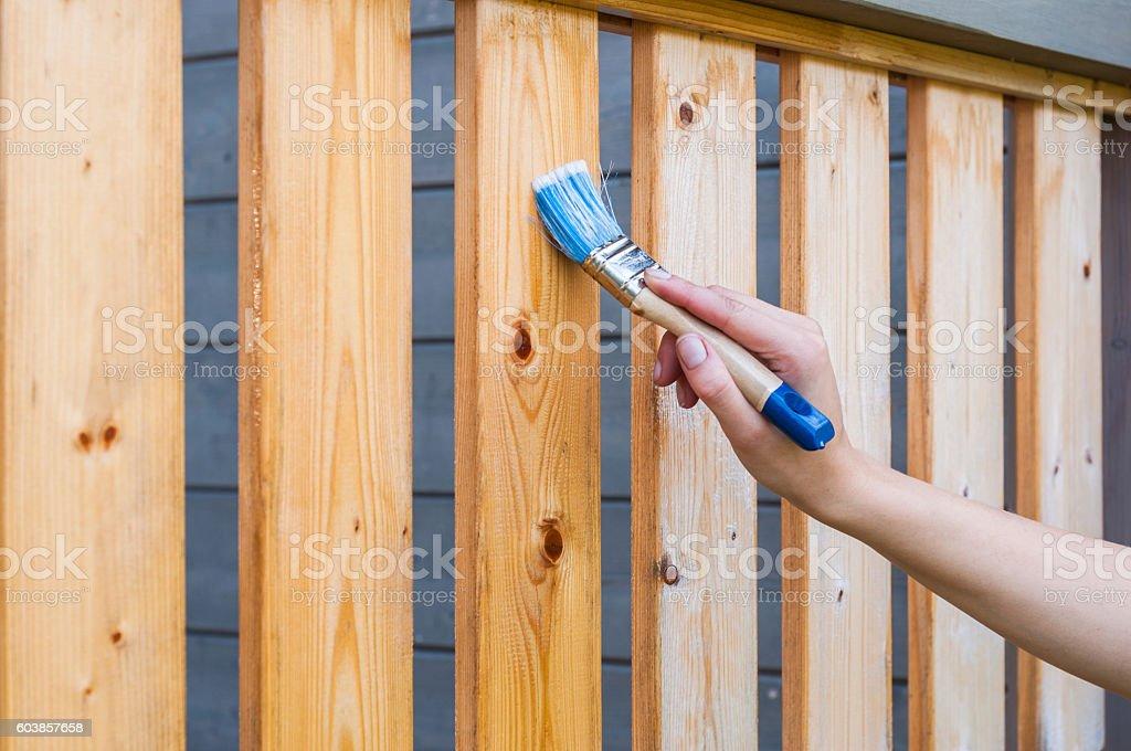 painted terrace railings stock photo