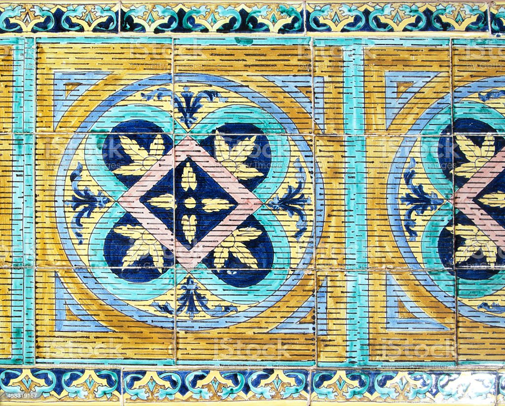 Painted tiles in Plaza de Espana, Sevilla royalty-free stock photo