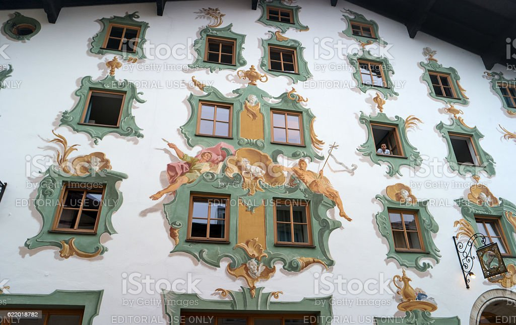St. Johann, Austria - October 13, 2016: Painted wall of stock photo
