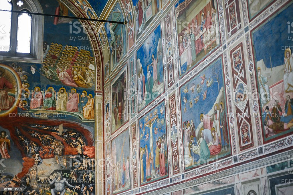 painted walls of Scrovegni Chapel in Padua city stock photo