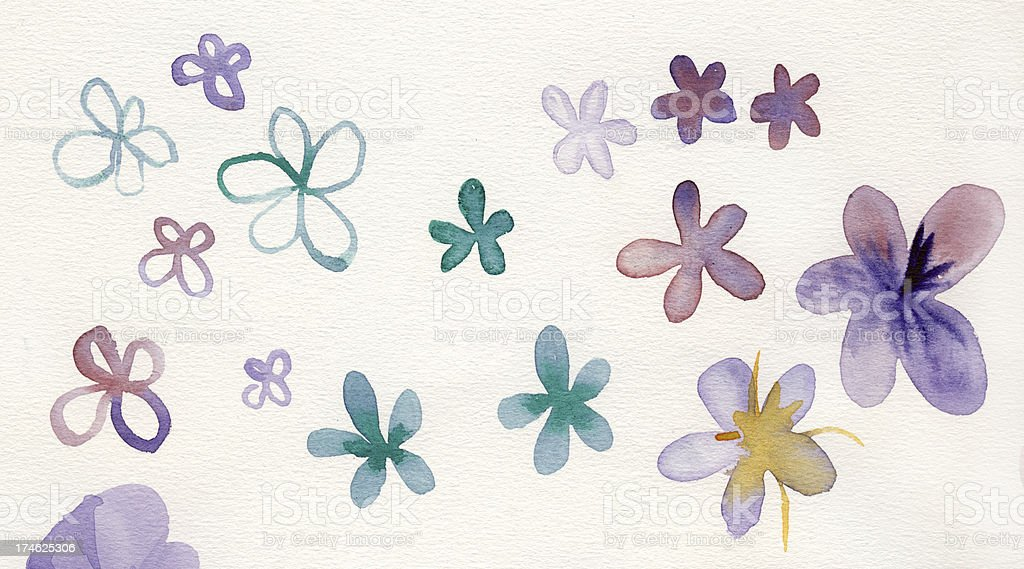 Painted watercolor flowers royalty-free stock photo