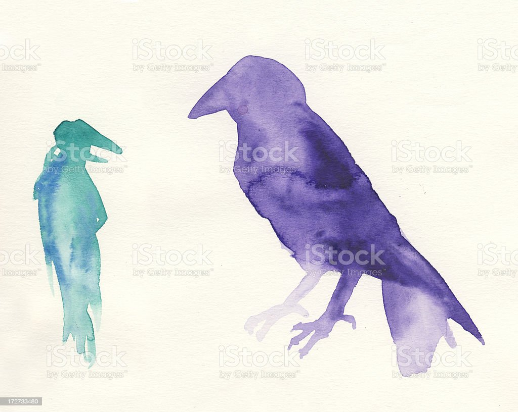 Painted watercolor ravens stock photo