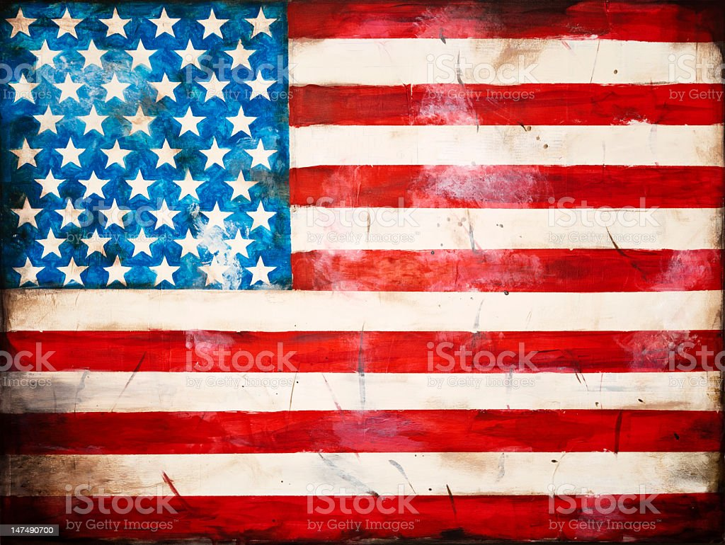 Painted weathered American flag royalty-free stock photo