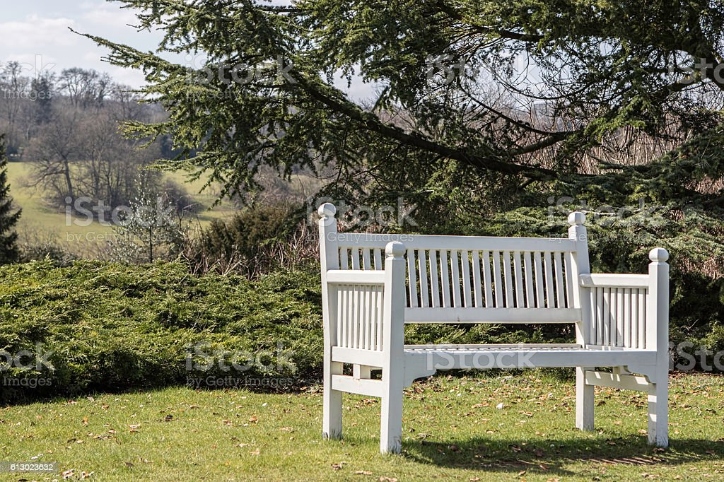 Painted white bench in the countryside stock photo
