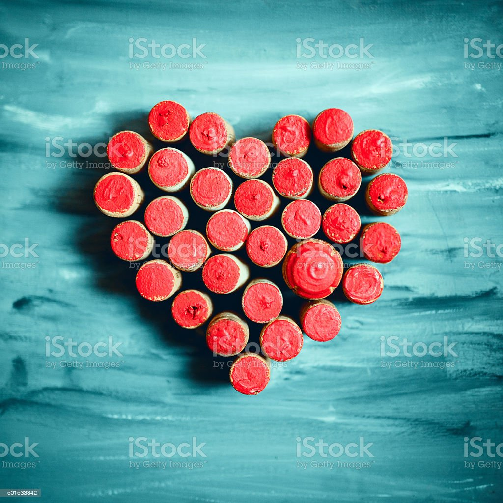 Painted Wine corks in heart shape stock photo