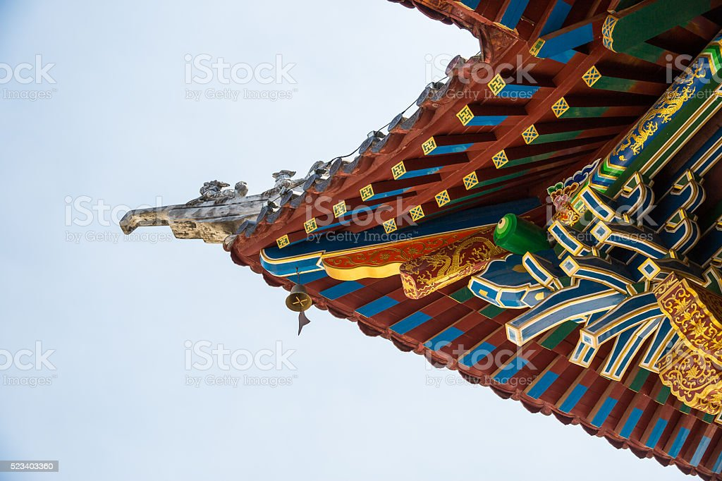 Painted wooden eaves stock photo