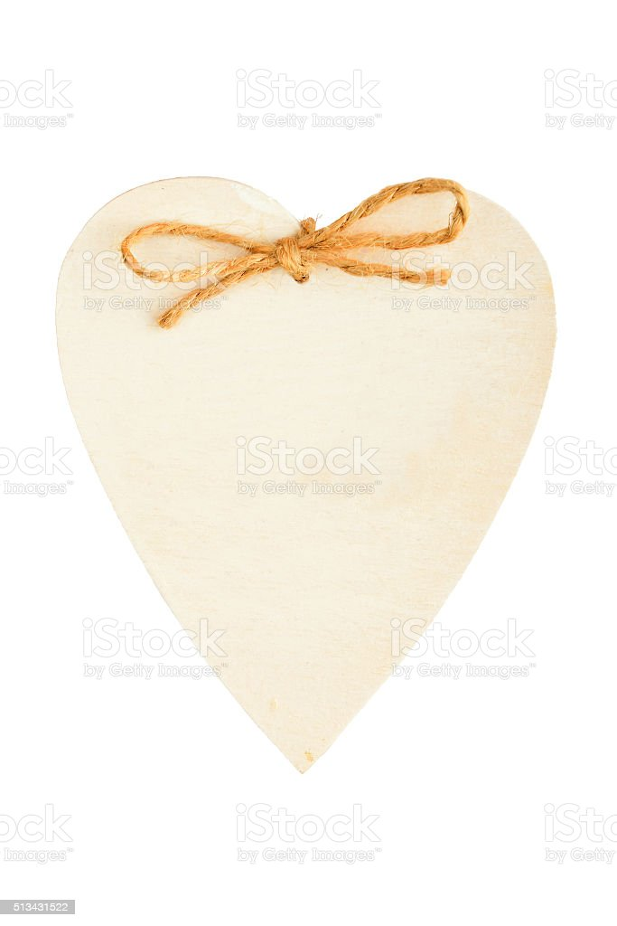 Painted wooden heart with rope isolated on white royalty-free stock photo