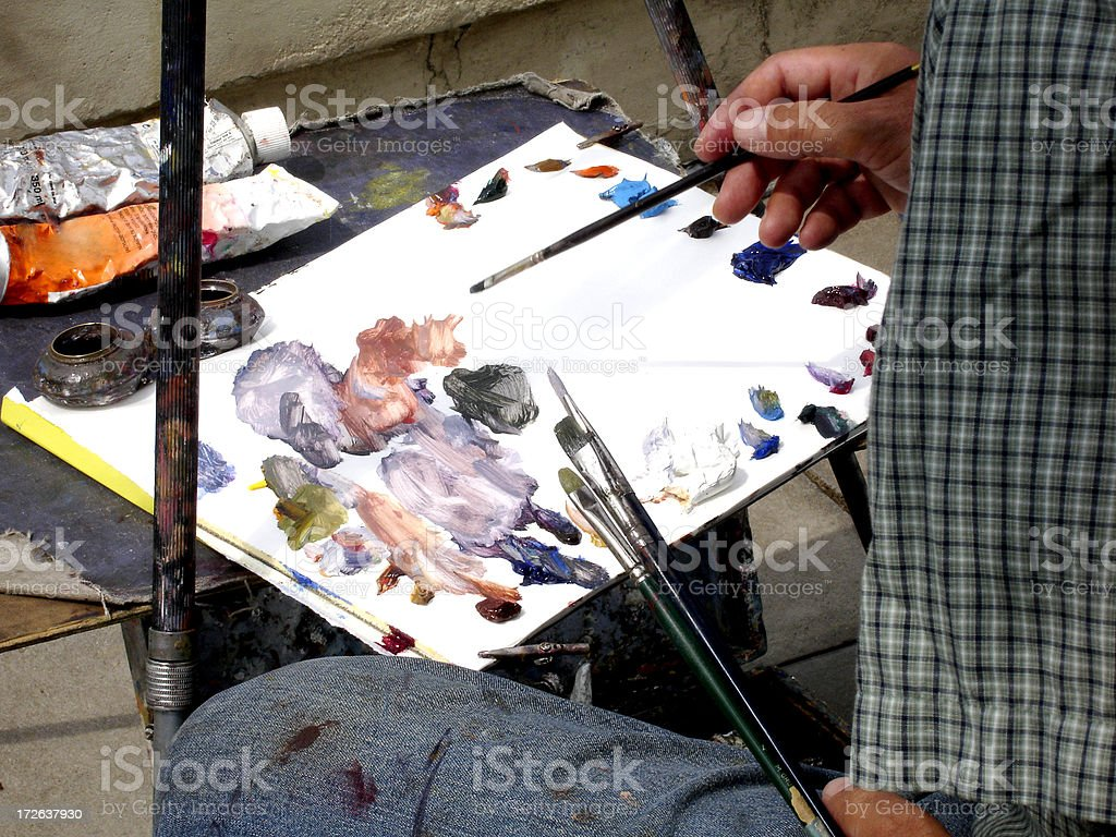 Painter and his palette royalty-free stock photo