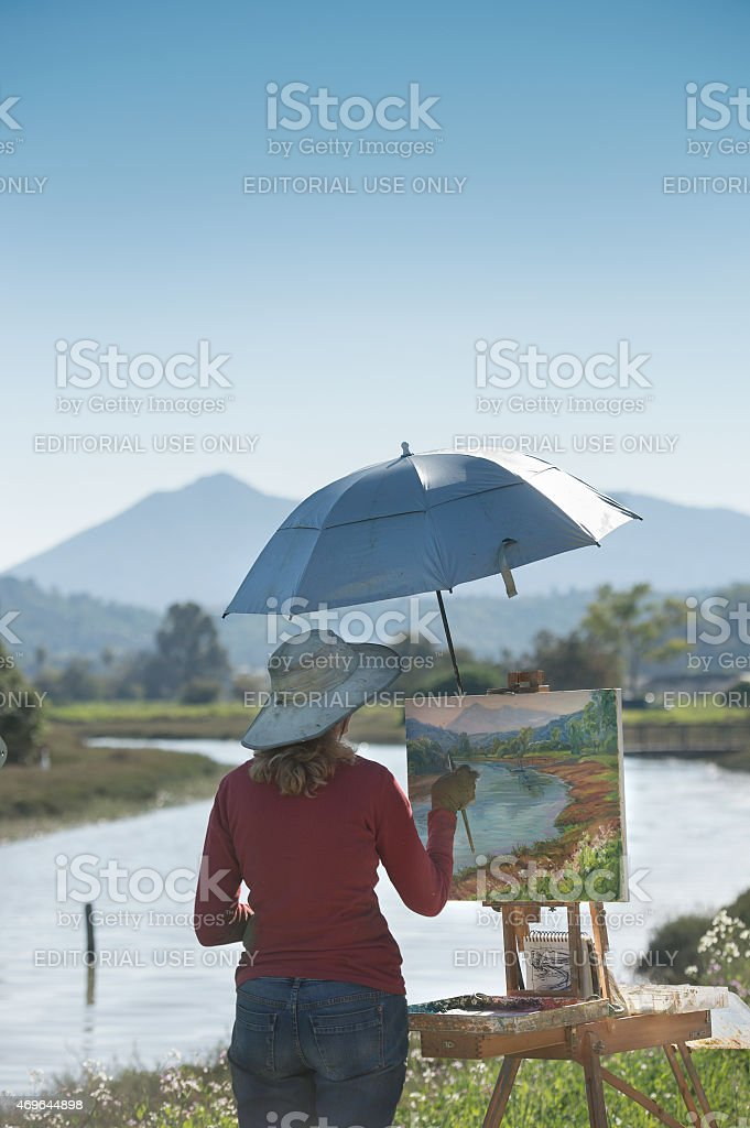 Painter and Mountain stock photo