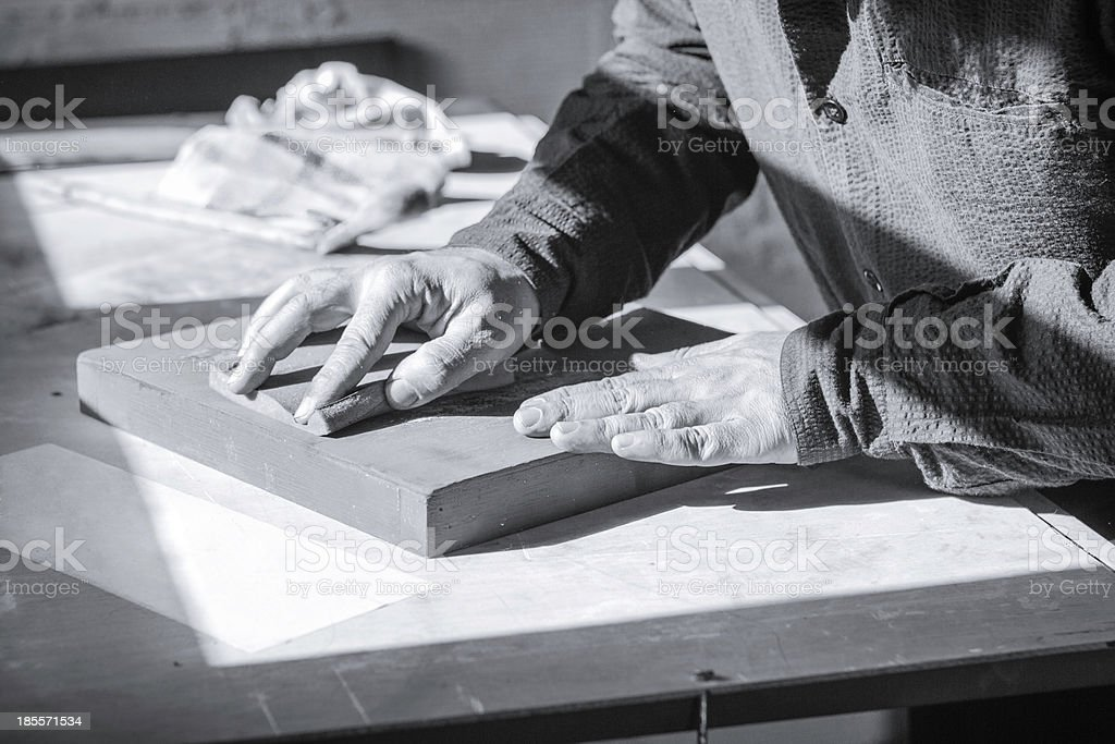 Painter artist working on a oil canvas royalty-free stock photo